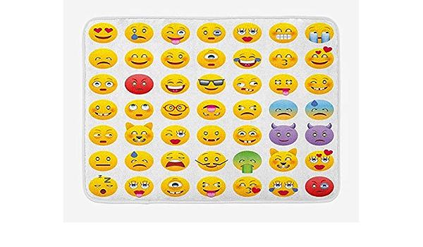Baif Tapis De Bain Emoji Dessin Anime Comme Smiley Visages De La Plupart Des Gens Heureux Triste Enerve Expressions D Humeur Furieux Imprimer Tapis De Bain En Peluche Avec Support Antiderapant Amazon Fr Cuisine Maison