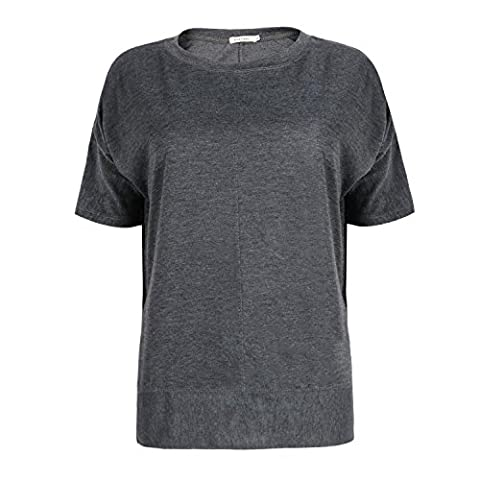 ICOCOPRO Womens Cold Shoulder Tops Short Sleeve Cutouts Blouse round neck loose Fit- Gray Tshirt- L