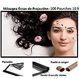 """Mileagea 100"""" 16:9 Pantalla para Proyector Portable 127 x 220 cm para Pared Blanco"""