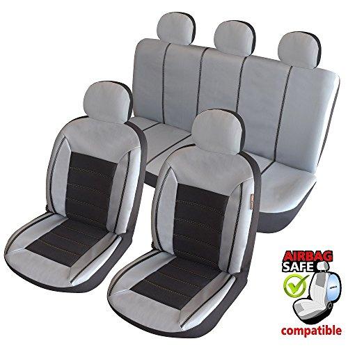 ATKKD5 - Kunstleder Auto Sitzbezug Set 11 Teilig Grau / Schwarz
