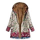 NEEKY Damen Winter Warme Jacke Outwear Lässiger Print Taschen Kapuze Oberbekleidung Frauen Vintage Oversize Hasp Mäntel(EU:42/M, Grün)