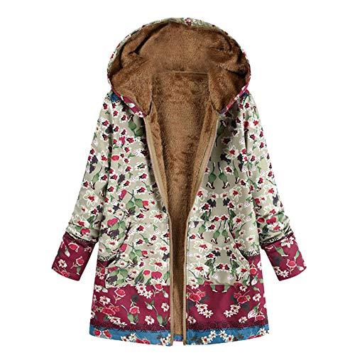 Preisvergleich Produktbild Soupliebe Damen Winter Warm Outwear Blumendruck Mit Kapuze Taschen Vintage Oversize Jacken Mäntel Sweatjacke Winterjacke Fleecejacke Steppjacke
