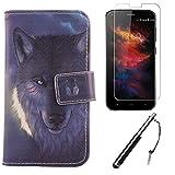 Lankashi 3in1 Set Wolf Design PU Flip Leder Tasche Für UMi