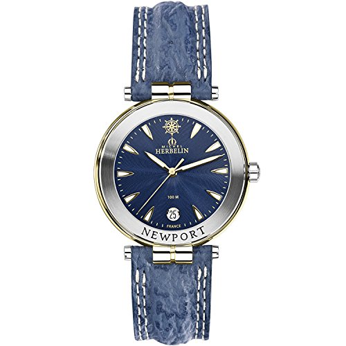 Michel Herbelin Unisex Erwachsene Analog Uhr mit Leder Armband 12255/T35