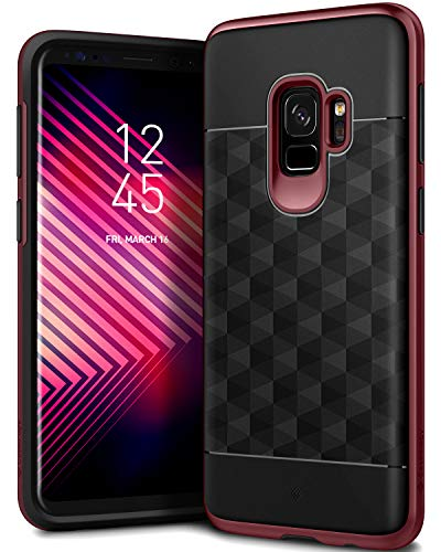 Caseology Parallax Series Case Designed for Galaxy S9 with Slim Fit Geometric Cover and Enhanced Drop Protection for Samsung Galaxy S9 (2018) - Black/Burgundy