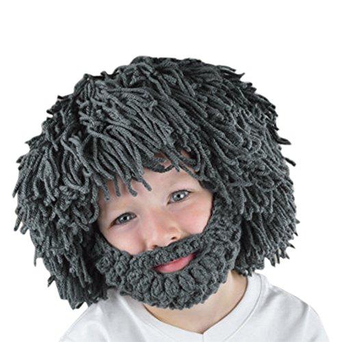 03f86ac5239 CHIC-CHIC Men Children Winter Warm Handmade Knitted Beard Mustache Hat  Crochet Viking Beanie Hats Cap Fancy Dress Accessory (Children Grey) - Buy  Online in ...