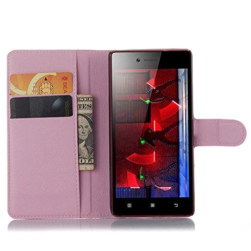 Tasche für Lenovo Vibe Shot Z90-7 Hülle, Ycloud PU Ledertasche Flip Cover Wallet Case Handyhülle mit Stand Function Credit Card Slots Bookstyle Purse Design rosa