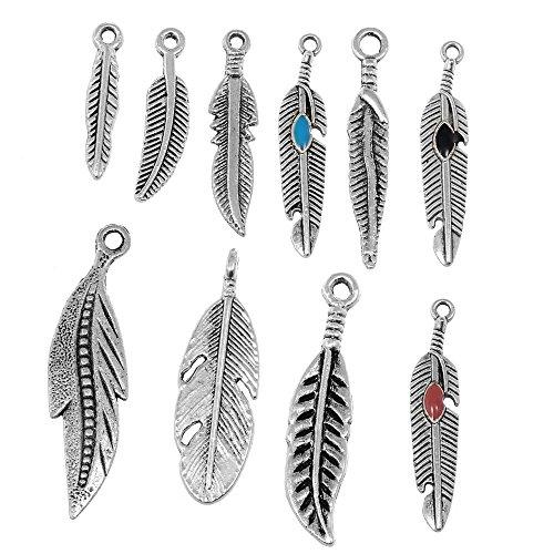 rubyca Tibetisches Silber Color Mix Feder-Anhänger Charms Armband Halskette Schmuck Ergebnisse