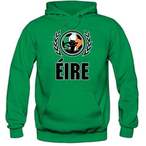 Shirt Happenz Irland WM 2018#2 Hoodie | Fußball | Herren | Éire | Trikot | Nationalmannschaft, Farbe:Hellgrün (Kellygreen F421);Größe:XXL -