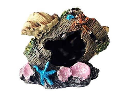 Meiliy Resin - Decoración barril acuario roto pecera