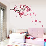 Chinatera Cherry Blossom Waterproof Background Wall Stickers for Bedroom