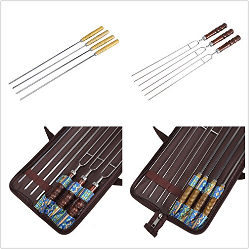 Barbecue Forks  and BBQ Skewers, 100% Stainless Steel with Heat Resistant Wooden Handle, and Storage Bag