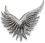 Jodie Rose Silver Colour Metal Wing Brooch with Clear Crystals