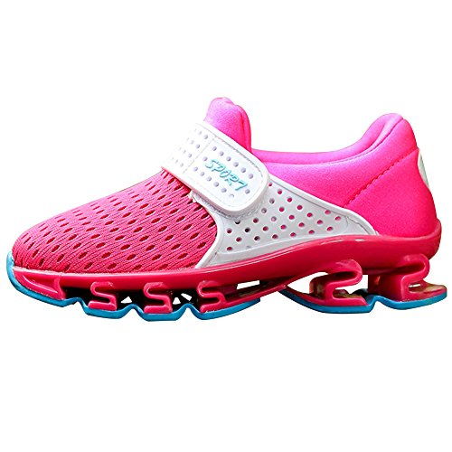 Jamron Filles Garçons Velcro Été Respirant Engrener Baskets Antidérapant Semelle de Rembourrage Jogging Chaussures de Sport Fuchsia