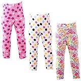 Snyemio Lot de 3 Fille Leggings Pantalons Fleur Crayon Collants Enfant Taille élastique 2-13 Ans