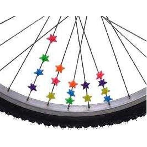 36 PC-Fahrrad-Rad-Speiche-Kunststoff-Stern-Kinder Clip Farbige Dekoratio*SI