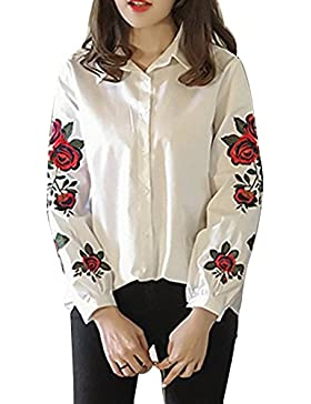 Blusas Mujeres Blusa Elegantes Camiseta Con Manga Larga Flor Blusas Camisa Top blanco 3XL