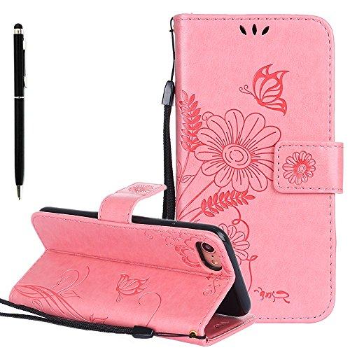 Custodia in pelle per iPhone 7 Cover, Zcro Stile Elegante di Cuoio Magnetica Flip del Libro Fiori Farfalla Custodia Portafoglio Case con Titolare della Carta Cinturino Nero Gratuito Penna Stilo per iP Rosa