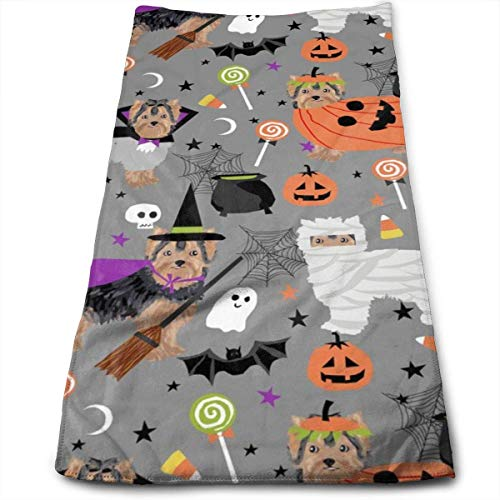 Yorkshire Terrier Yorkie Halloween Costumes Cute Dog Fall Autumn Hand Towels Dishcloth Floral Linen Hand Towels Super Soft Extra Absorbent for Bath,Spa and Gym 12
