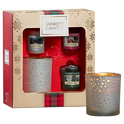 Yankee Candle Geschenkset, mit 3duftenden Votivkerzen und einem Votivkerzenhalter, Alpine Christmas Collection, in festlicher Geschenkbox
