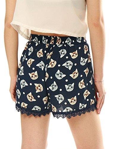 Allegra K Damen Blumen Druck elastisch Taille Freizeit kurze Hose Casual Shorts Blau-Katzenkopf