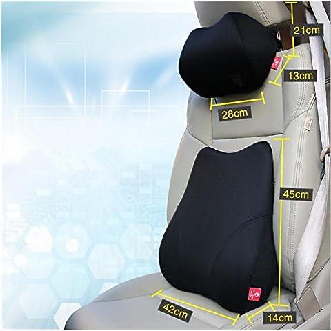 LUN Parte posteriore dell'automobile di schiuma di memoria supporto lombare cuscino cuscino & collo cuscino (Nervatura Cotone Collo Alto)