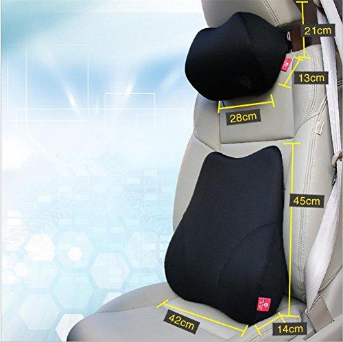 Parte posteriore dell'automobile di schiuma di memoria supporto lombare cuscino cuscino & collo cuscino per (Nervatura Cotone Collo Alto)