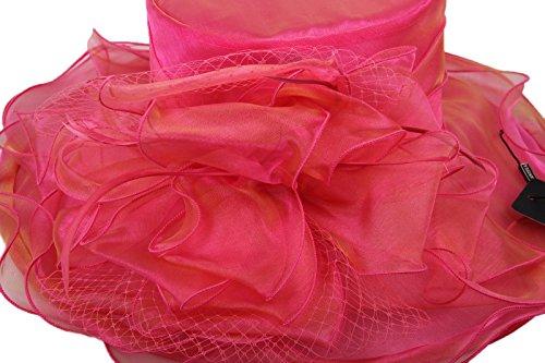 Dantiya-Femme Chapeau Bibi Retro à bord large-plage été à volant orné fleur en organza rose foncé