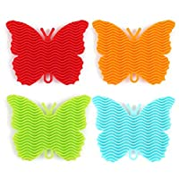 SmallPocket Butterfly-shaped Silicone Multi-function Dishwashing Brush Melon Fruit Vegetable Cleaning Brush Insulation Pad Kitchen Supplies Tableware Brush (random Colors) attractively