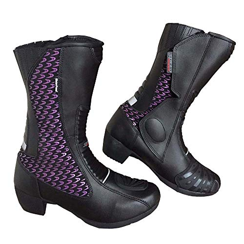 Speed Maxx - Stivali da Motociclista da Donna, in Pelle, Colore Vio