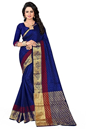 Veronika Closet Women\'s Multi Colour Jacquard Silk Saree With Blouse Material