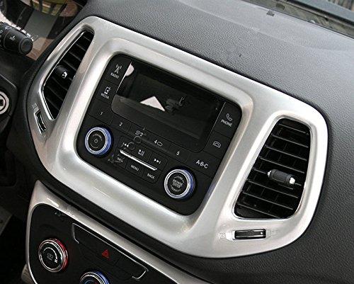 Macxy 5 Farbe f¨¹r Jeep Compass + 3.5 Zoll-Dashboard-Konsole GPS Navigation Spur Screen Panel-Rahmen Trim [Matt Silber]