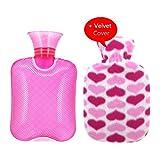 Transparente Gummi-Heißwasser-Flasche Hot Water Bag 500ml mit Samt-Abdeckung-Eisbeutel