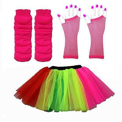 WICKD LADIES NEON TUTU SKIRT OUTFIT WITH LEGWARMERS AND FISHNET GLOVES - 2 SIZES 8-22 UK (Rainbow, 16-22 UK)