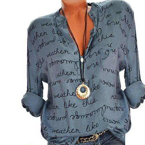 GJKK Bluse Damen Reizvoller Übergröße V-Ausschnitt Taste Langarm Tops Frauen Herbst Langarmshirt Brief Gedruckt Tops Oberteil Lose Hemd Tunika -
