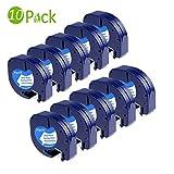 Fimax 10 Rolle Kompatibel Kunststoffbands Nachfüllband für Dymo LetraTag LT110T LT100H / Modell 91221 91201 91331 S0721660/ Schwarz auf weiß / 12mm x 4m