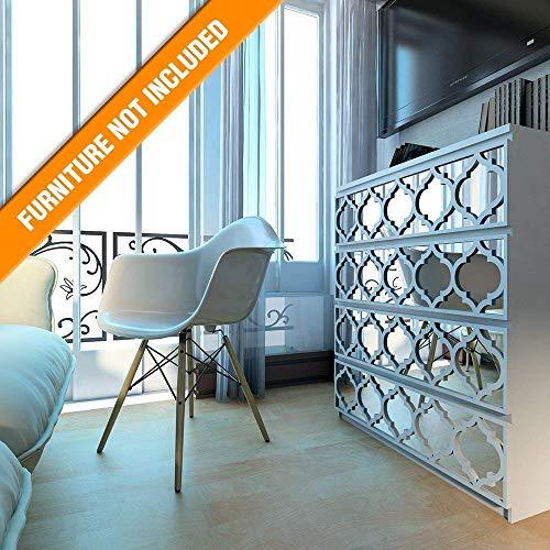 is Gitterwerk | Geeignet für IKEA Malm | 80 x 20 cm | Farbe: Weiß und Spiegel | Moderne Möbel Dekoration Handgemachte Fretwork Hardware | Wohnkultur ()