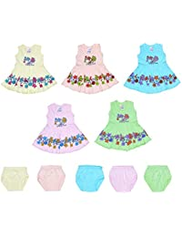 Sathiyas Baby Girls Dresses (Pack of 5) (0-3 Months)