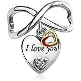 """KunBead - Ciondolo a forma di cuore con incisione """"I Love You"""", per braccialetti, con simbolo dell'infinito, regalo per San V"""