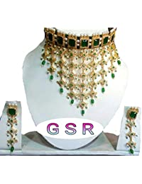Rajputi Jewellery Green Gold-Plated Necklace Set For Women's