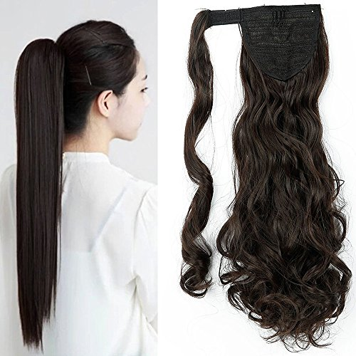 "24"" Queue de Cheval Postiche Extension de Cheveux Ondulé - Wrap Around Ponytail Clip in Hair Extensions - Marron Foncé (60cm-135g)"