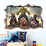 Vercico 3D Avengers Endgame Sticker Mural autocollant Superheros Sticker Mural Autocollant Home Decor Art Stickers Muraux (style2)