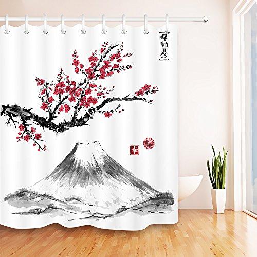 Orientalischer Sakura Cherry Tree in Blüte und Fujiyama Mountain Polyester-Gewebe-Wasser-beständiges Badezimmer-Dekor-Duschvorhang-Set mit 12 Haken,150x180cm (Badezimmer-set Sakura)