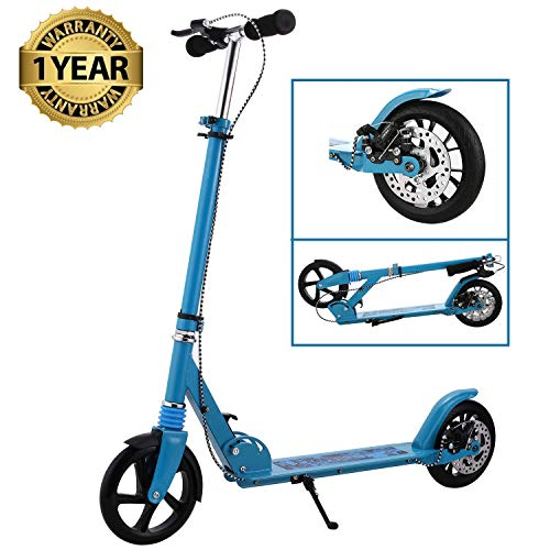 fiugsed Erwachsene/Kinde City Roller Scooter, Leicht Scooter T-Style Stabile Aus Aluminiumlegierung, Klappbar Höhenverstellbar Roller Für Erwachsene, Big Wheel Cityroller und 200 mm großen Rädern
