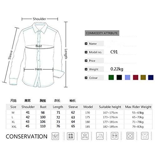 Honghu Regolare Colletto Ampio Manica Lunga Camicia Uomo Verde Esercito