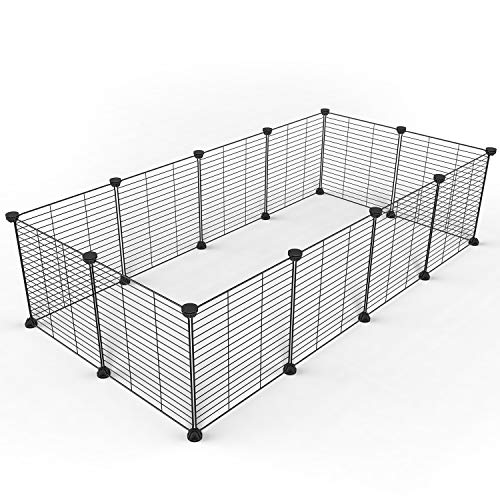 Tespo Hund Laufgitter, Indoor Portable Metalldraht Hof Zaun für Kleintiere, Popup Kennel Kiste Zaun Zelt, schwarz 12 Panels -
