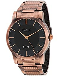 RELISH RE-C8027CC Copper Case Black Dial Analog Watch For Mens & Boys