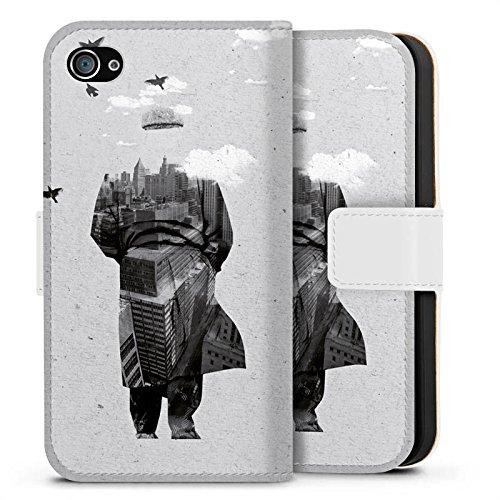 Apple iPhone X Silikon Hülle Case Schutzhülle Silhouette Mann Wolken Sideflip Tasche weiß