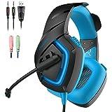 Gaming Headset PS4, ONIKUMA Gaming Kopfhörer mit Mikrofon LED Effekt für PS4 PC Film Gaming Spielen Chat Musik. (Blau)