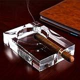 ZHAS Zigarre Kristall Aschenbecher, [groß] Zigaretten Aschenbecher, Indoor Outdoor Glasdekoration, Herren Damen Raucher Geschenk-klar 150 * 105 * 30mm